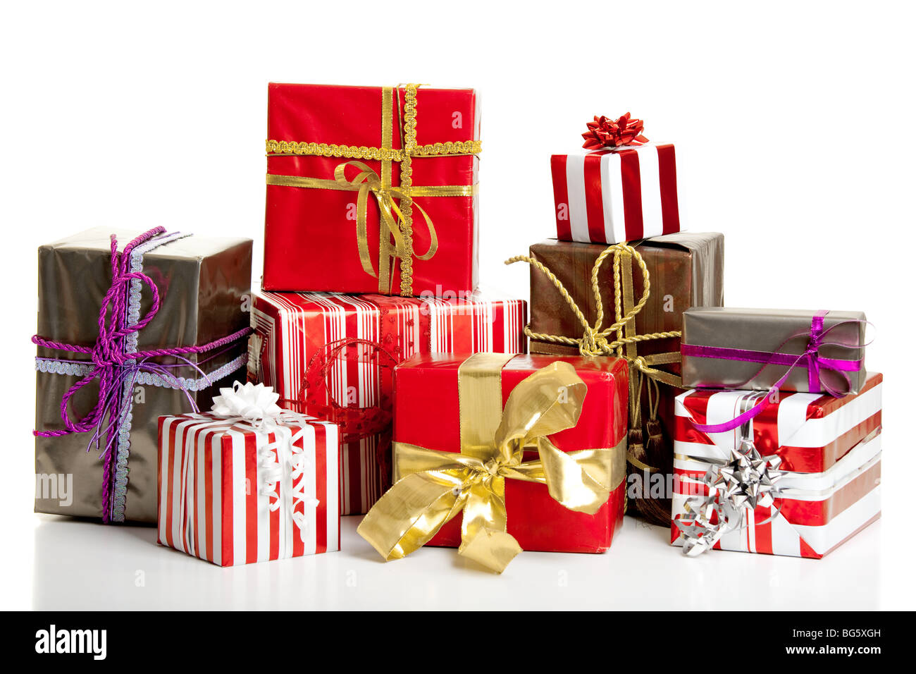 Christmas gifts isolated on a white background - Stock Image