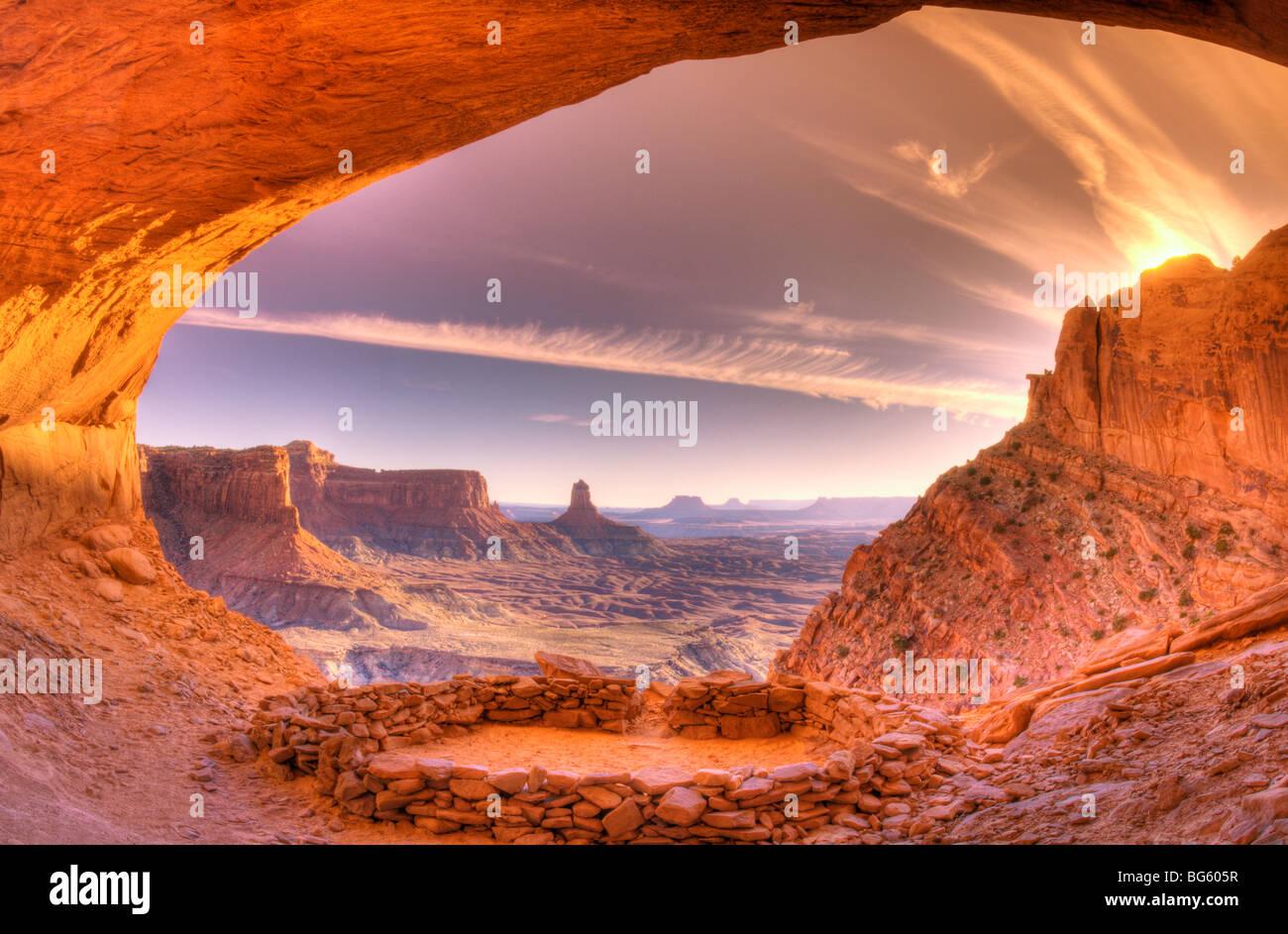 Evening light on False Kiva, Island in the Sky, Canyonlands National Park, Utah - Stock Image
