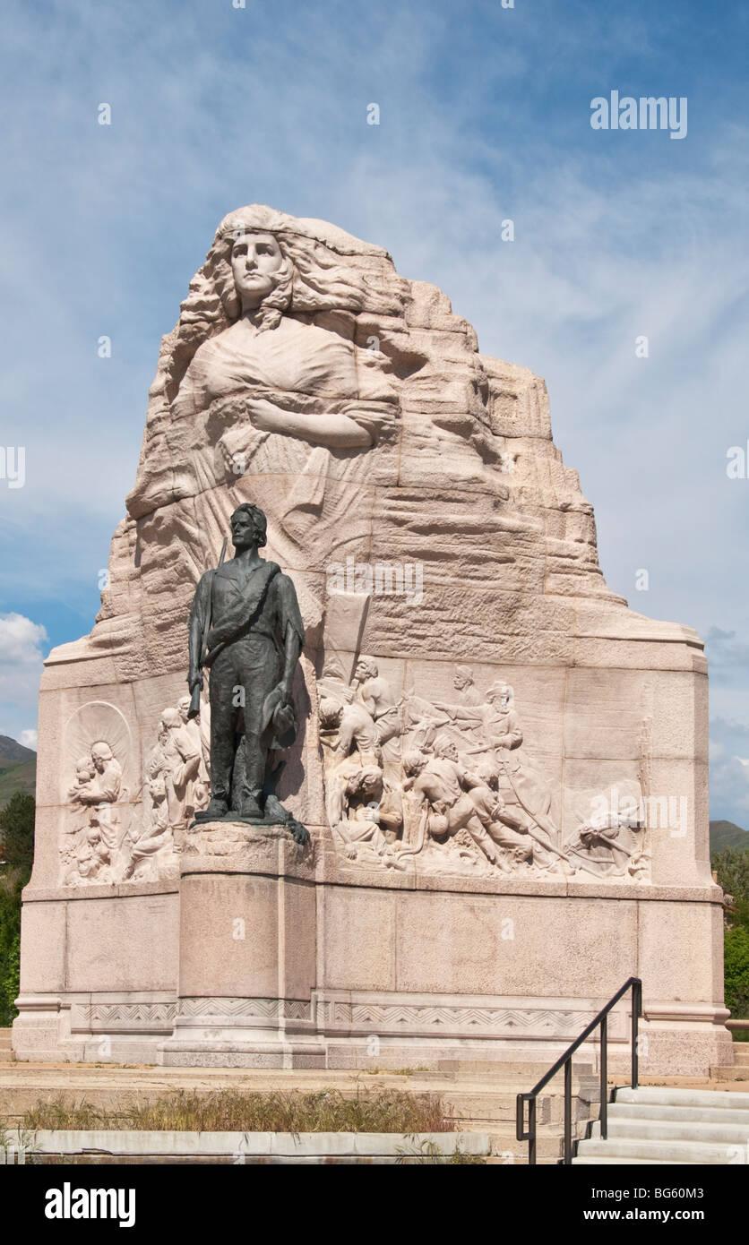 Utah Salt Lake City Mormon Battalion Sculpture commemorates Mormon pioneer volunteers who joined U.S. Army during - Stock Image