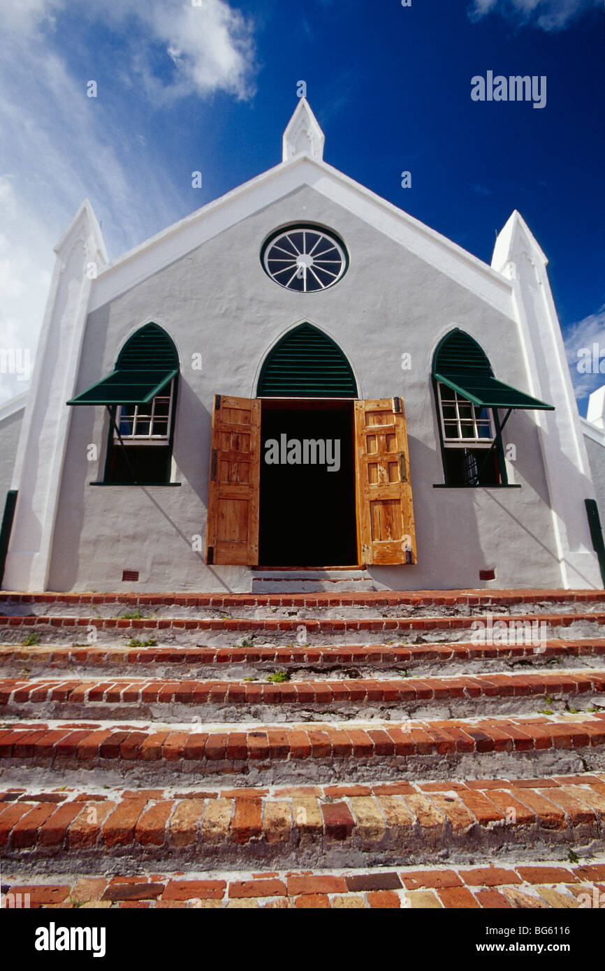 Low Angle View of a Chapel, St Peter's Anglican Church, St George, Bermuda - Stock Image