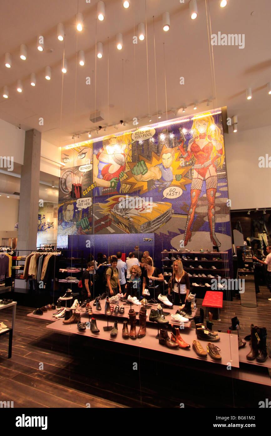 Israel, Tel Aviv-Yafo, a fashion store at the renovated Tel Aviv port - Stock Image