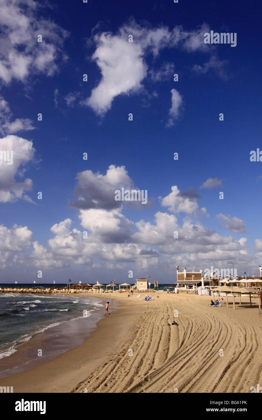 Israel, Tel Aviv-Yafo, Hilton beach - Stock Image