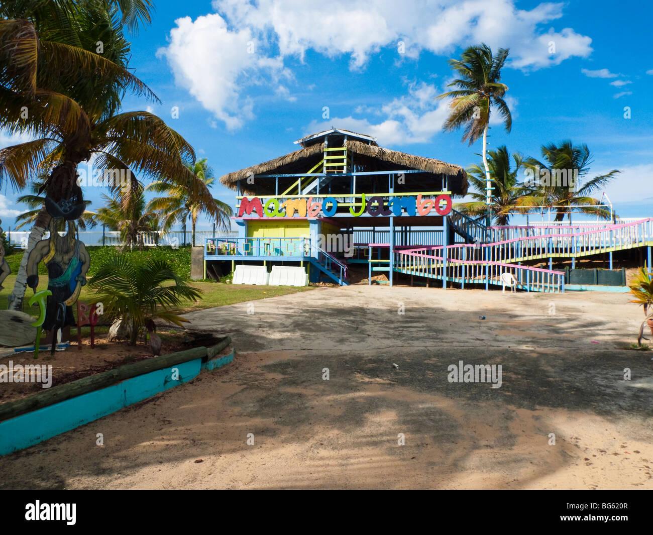 Local Beach Club in Pinones, Puerto Rico - Stock Image