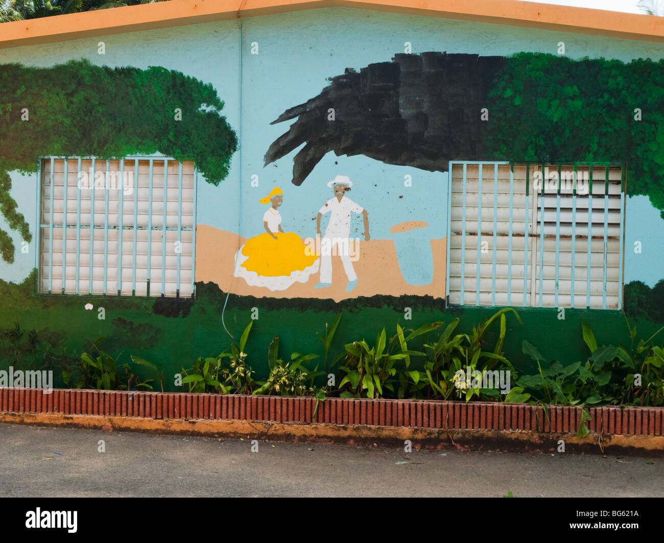 Puerto Rican Native FolK Art Painting on a House, Pinones, Puerto Rico - Stock Image