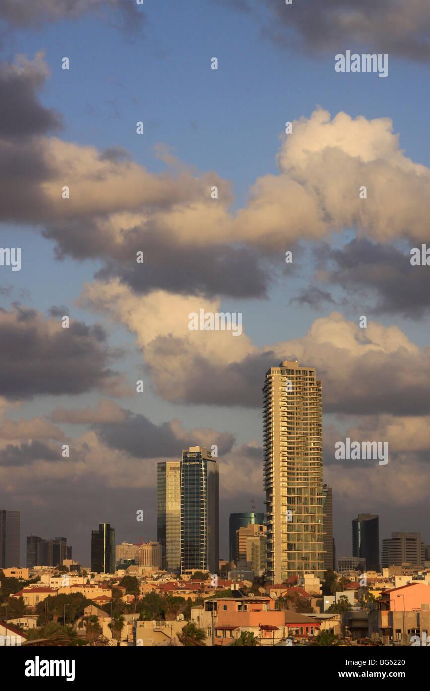 Israel, Tel Aviv-Yafo, High-rise buildings behind Neve Tzedek neighborhood - Stock Image