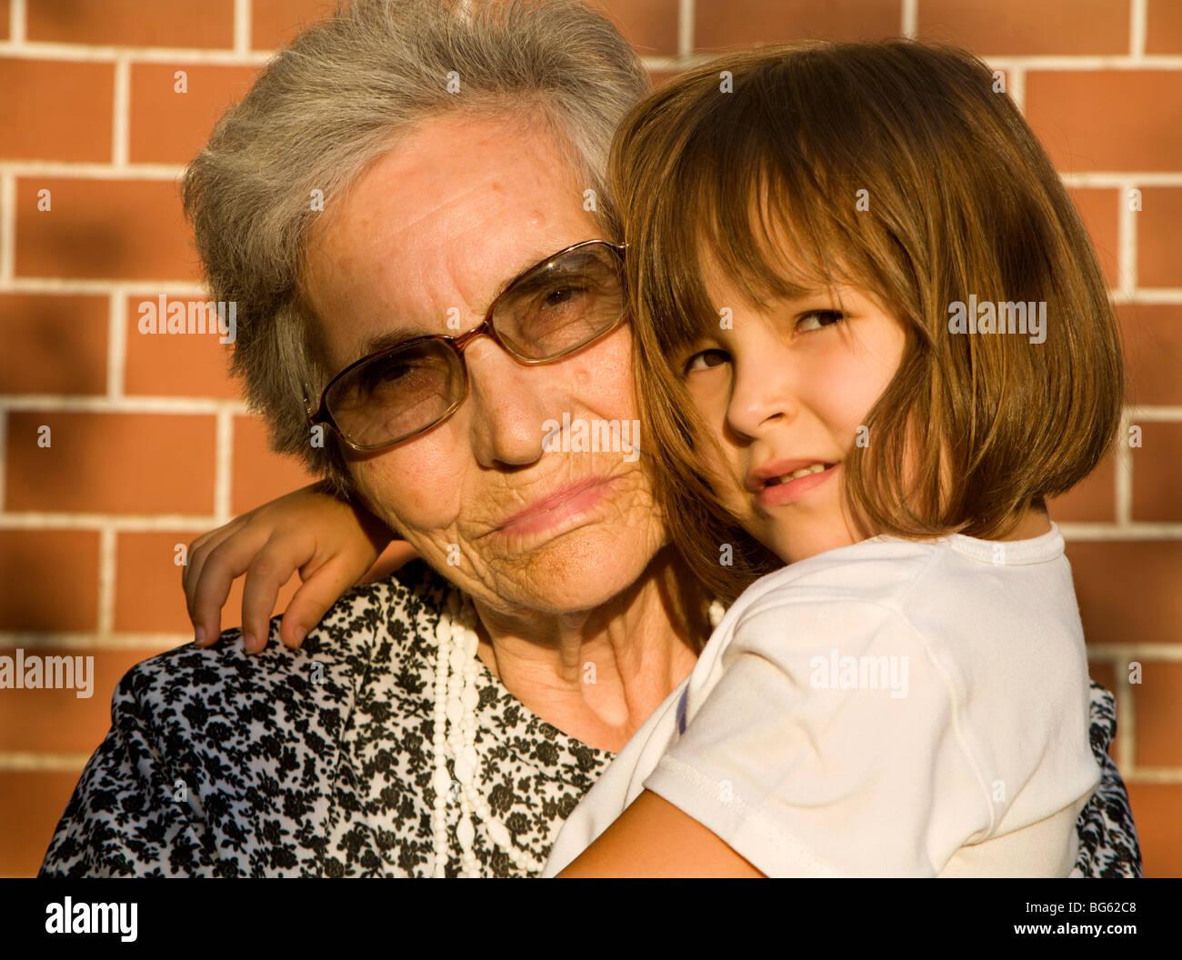 grandmother and grandchild - Stock Image