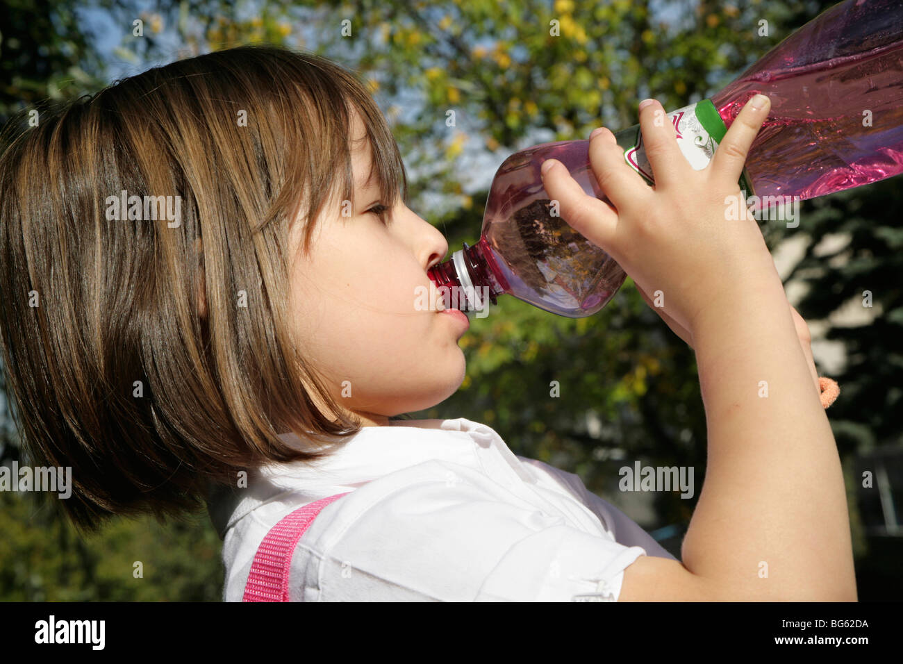 thirst of little girl Stock Photo