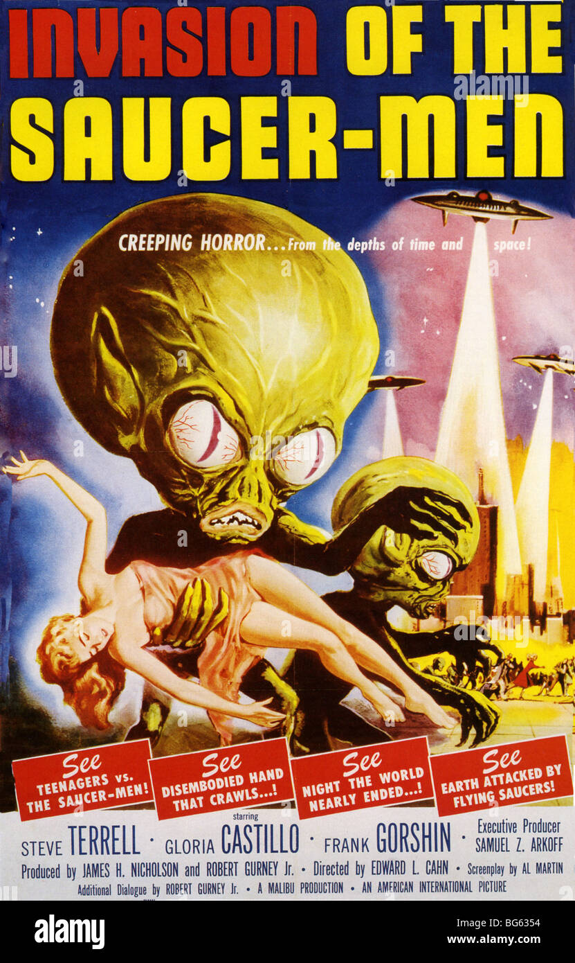 INVASION OF THE SAUCER-MEN - Poster for 1957 AIP/Malibu film - Stock Image