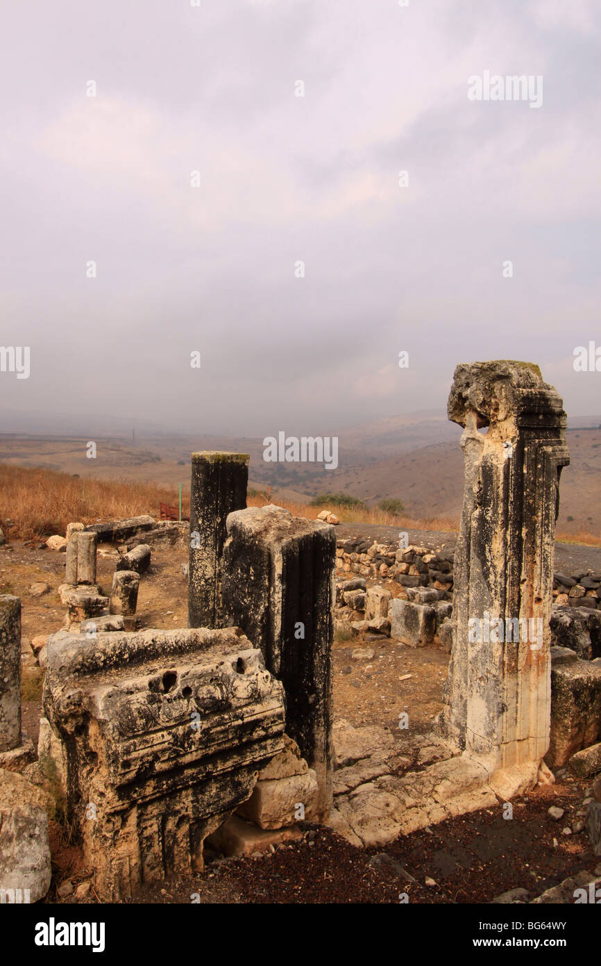 Israel, Lower Galilee, Ruins of Arbel ancient Synagogue - Stock Image