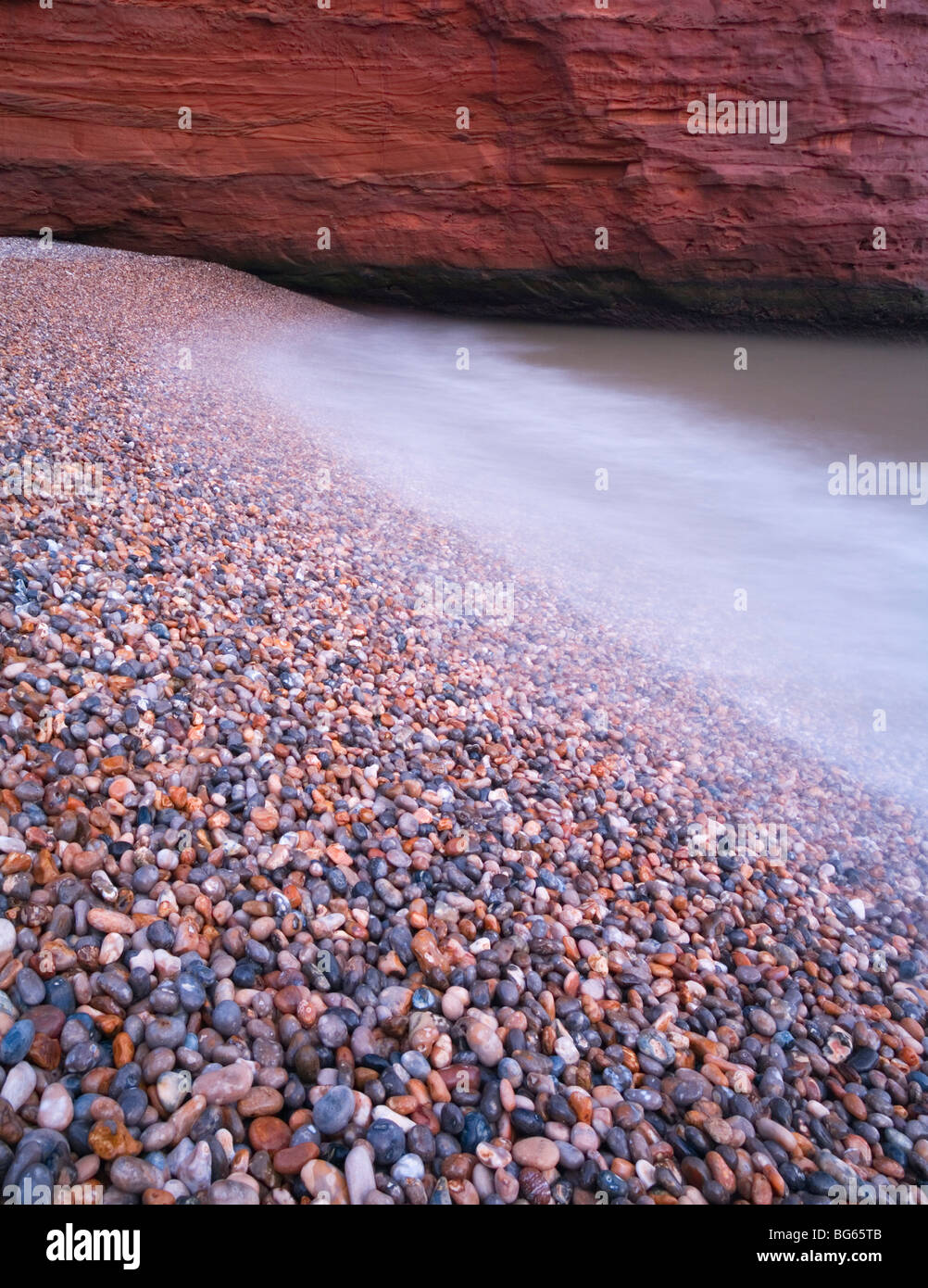 Pebble Beach Detail, Ladram Bay. Jurassic Coast World Heritage Site. Devon. England. UK. - Stock Image