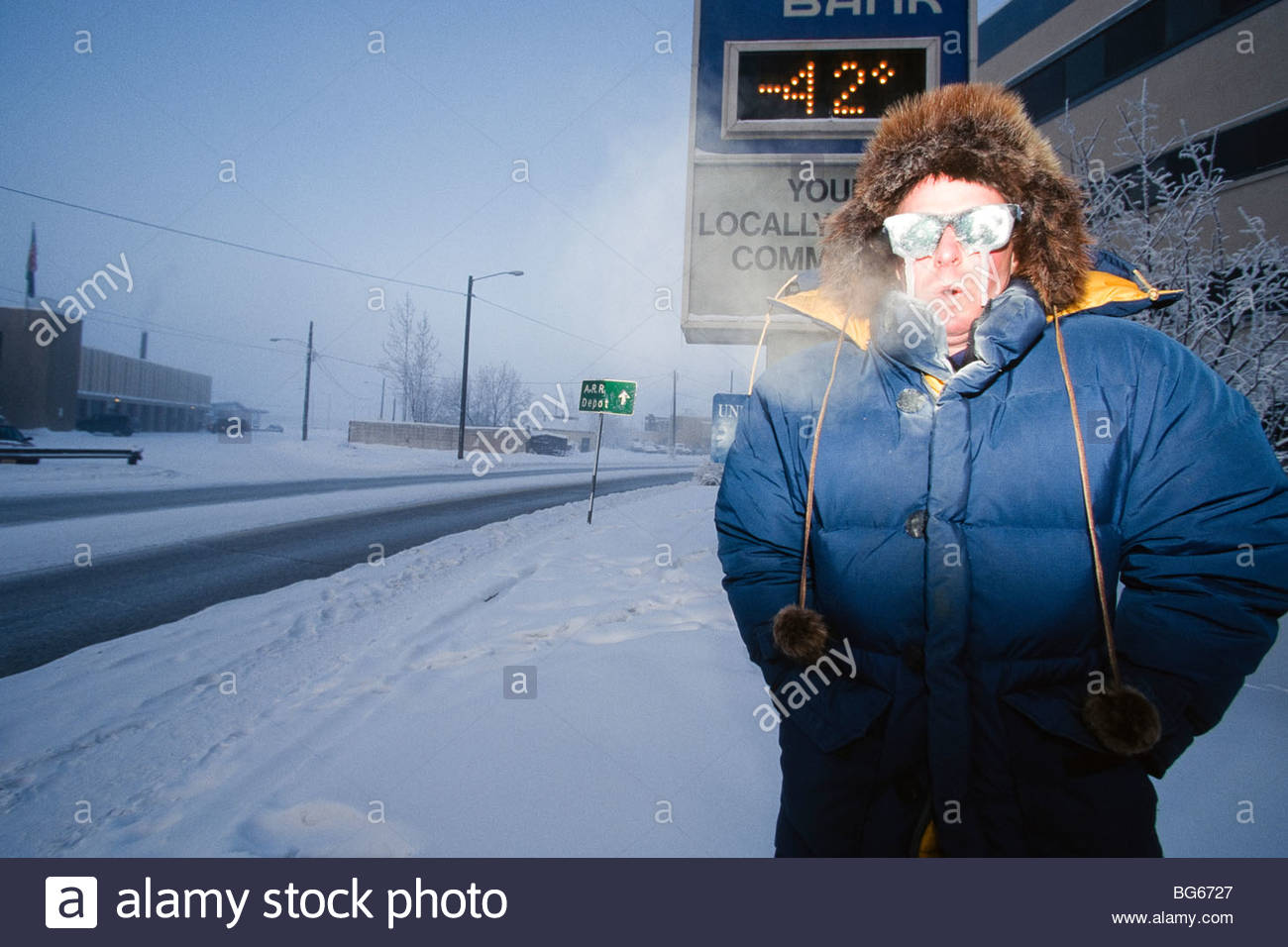 Alaska. Fairbanks. At -42 degrees F, icicles may grow on your glasses. (MR) - Stock Image