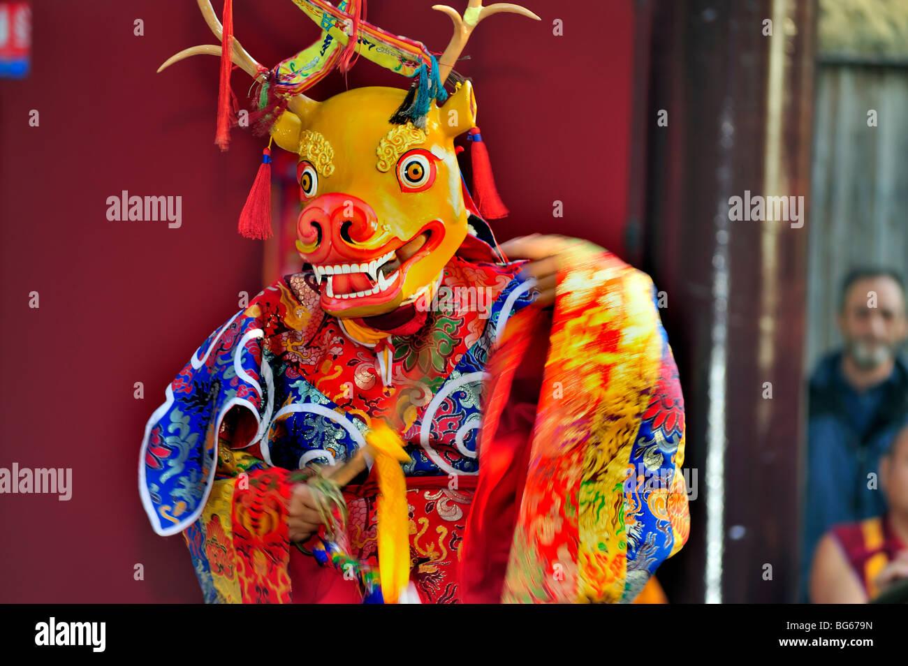 Tibetan Monk in Traditional Dress, Performing Ritual Animal Mask Dance, Buddhist Ceremony, Pagoda Stock Photo