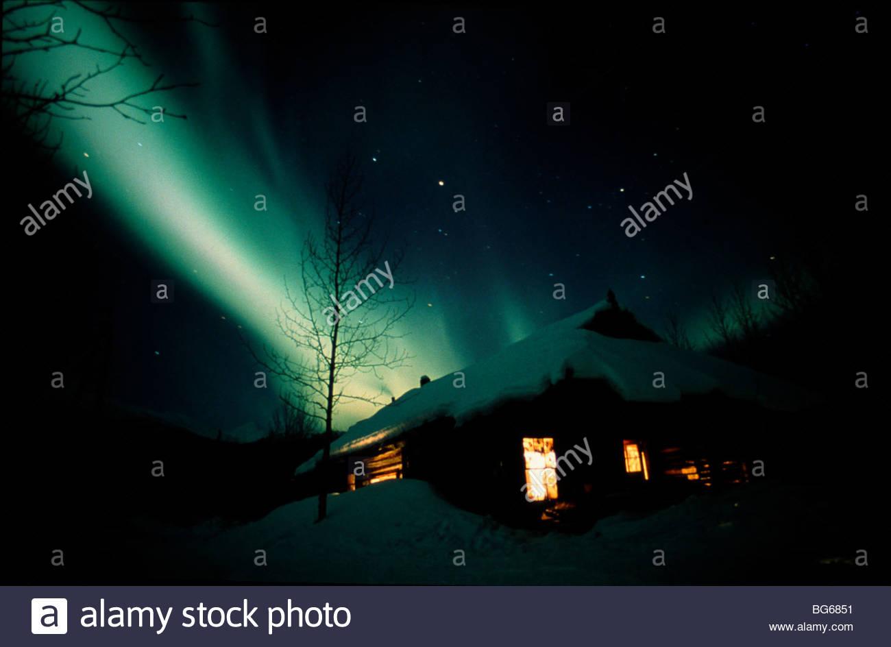 Alaska. Brooks Range. Aurora Borealis. PR - Stock Image