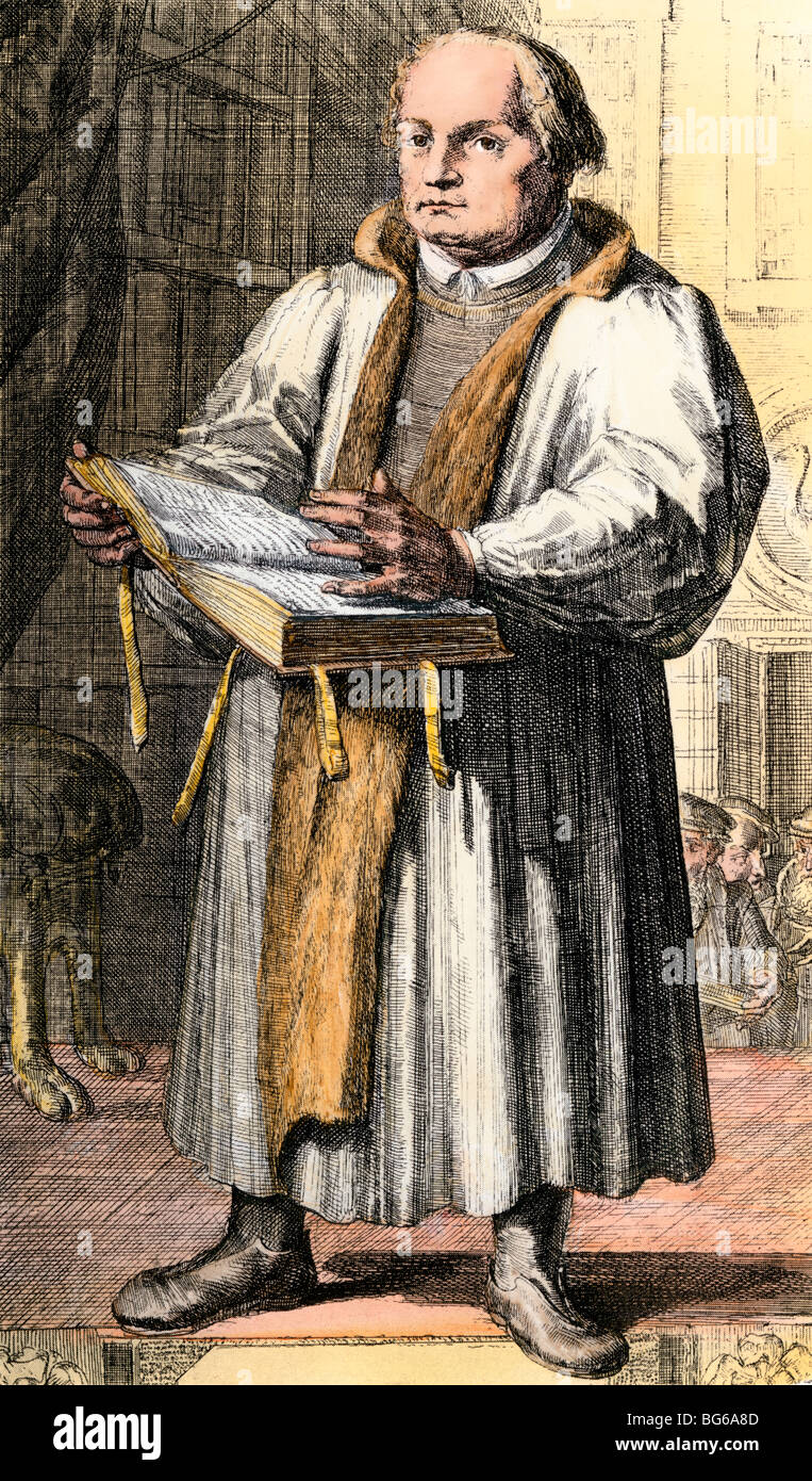 Martin Luther preaching. Hand-colored halftone of a rare old print - Stock Image