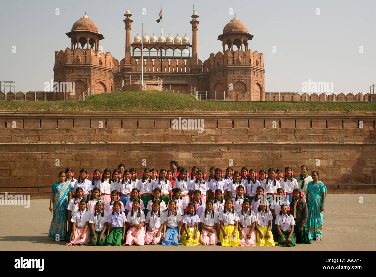 India Delhi Red fort Lahore gate & school party - Stock Image