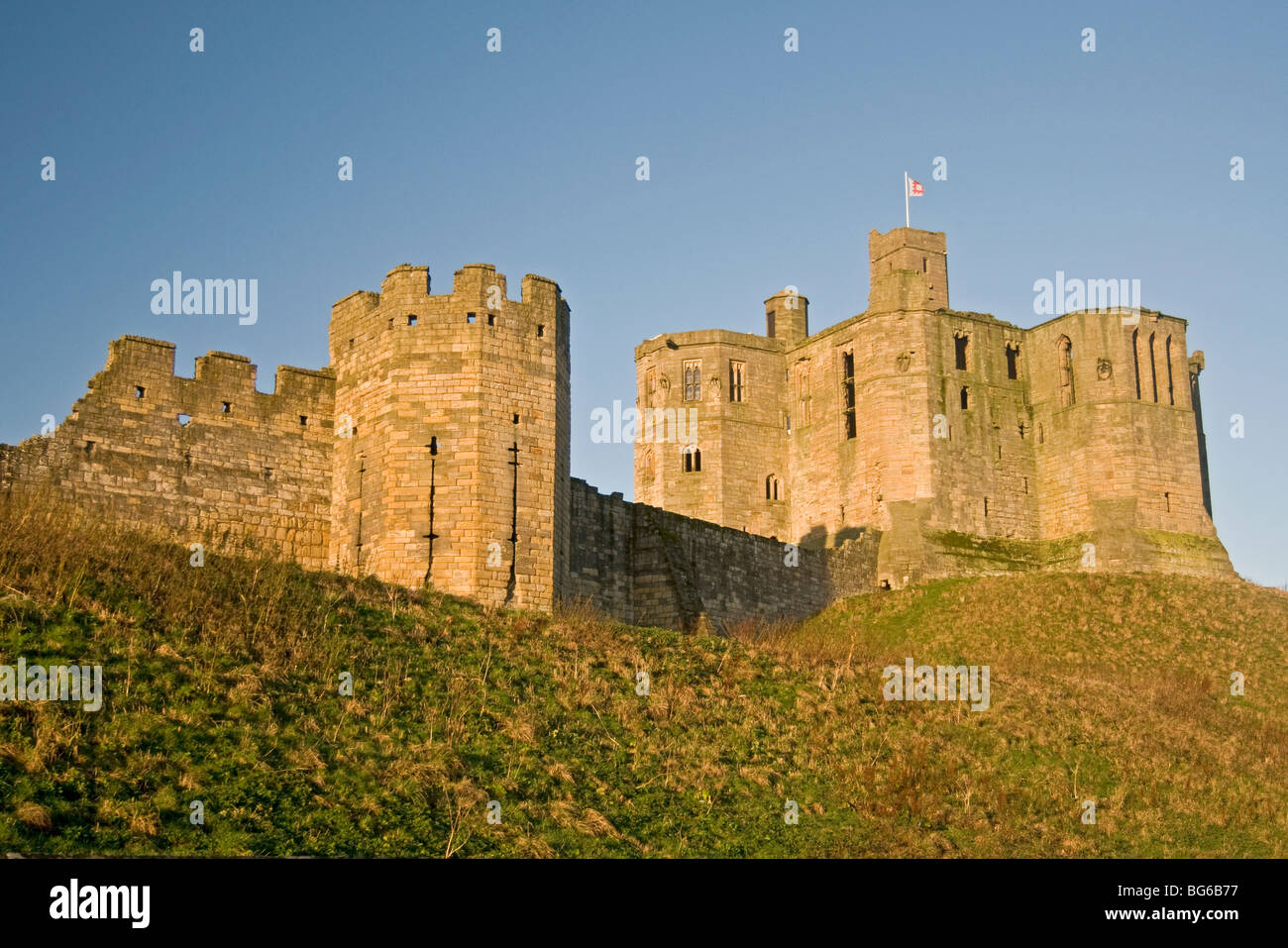 Warkworth Castle Near Amble Northumberland Noth East England Stock Photo