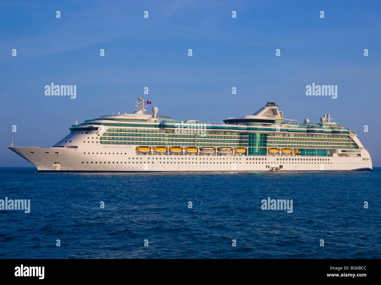 Royal Caribbeans 'Brilliance of the Seas' anchored at sea. - Stock Image