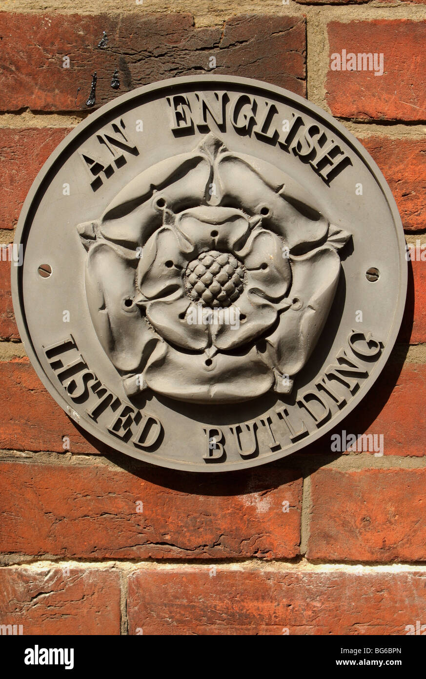 English Listed Building Plaque - Stock Image