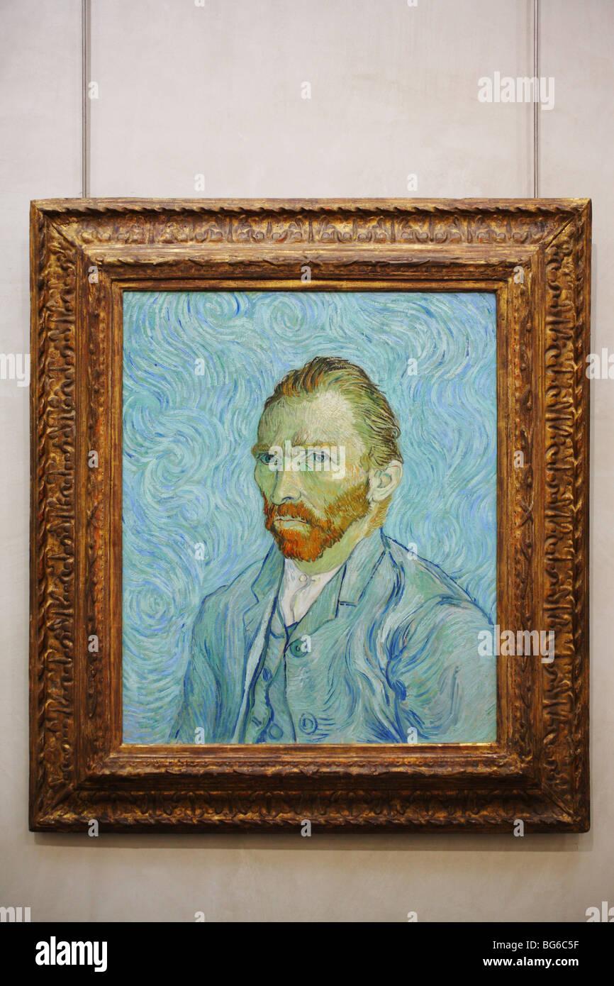 Vincent van Gogh self portrait 1889, d'Orsay Museum, Paris, France - Stock Image