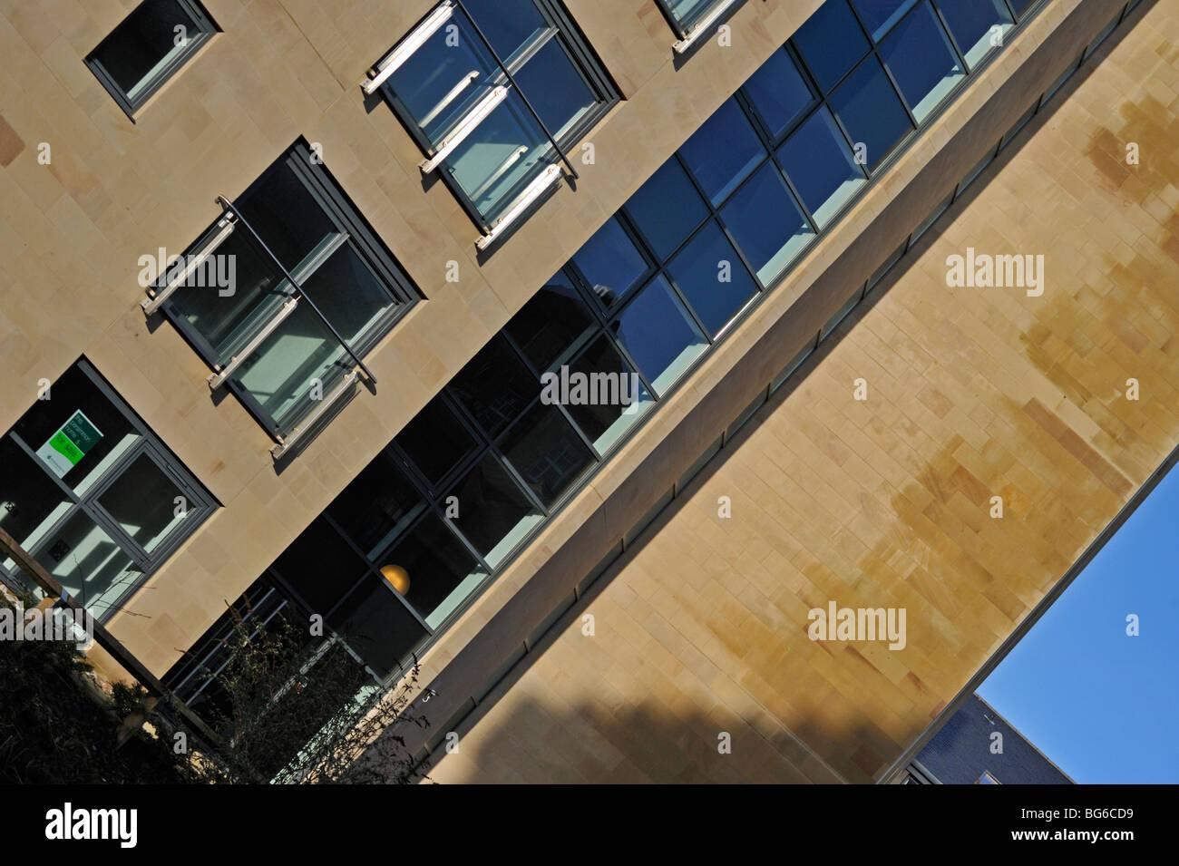 Multistorey apartment building (detail). Lancaster Canal, Lancaster, Lancashire, England, United Kingdom, Europe. - Stock Image