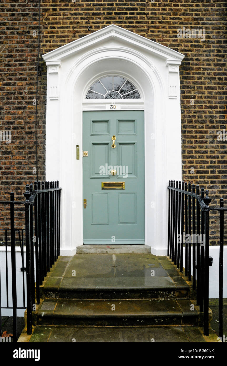 Front door of Georgian House Highbury Place Islington London England ...