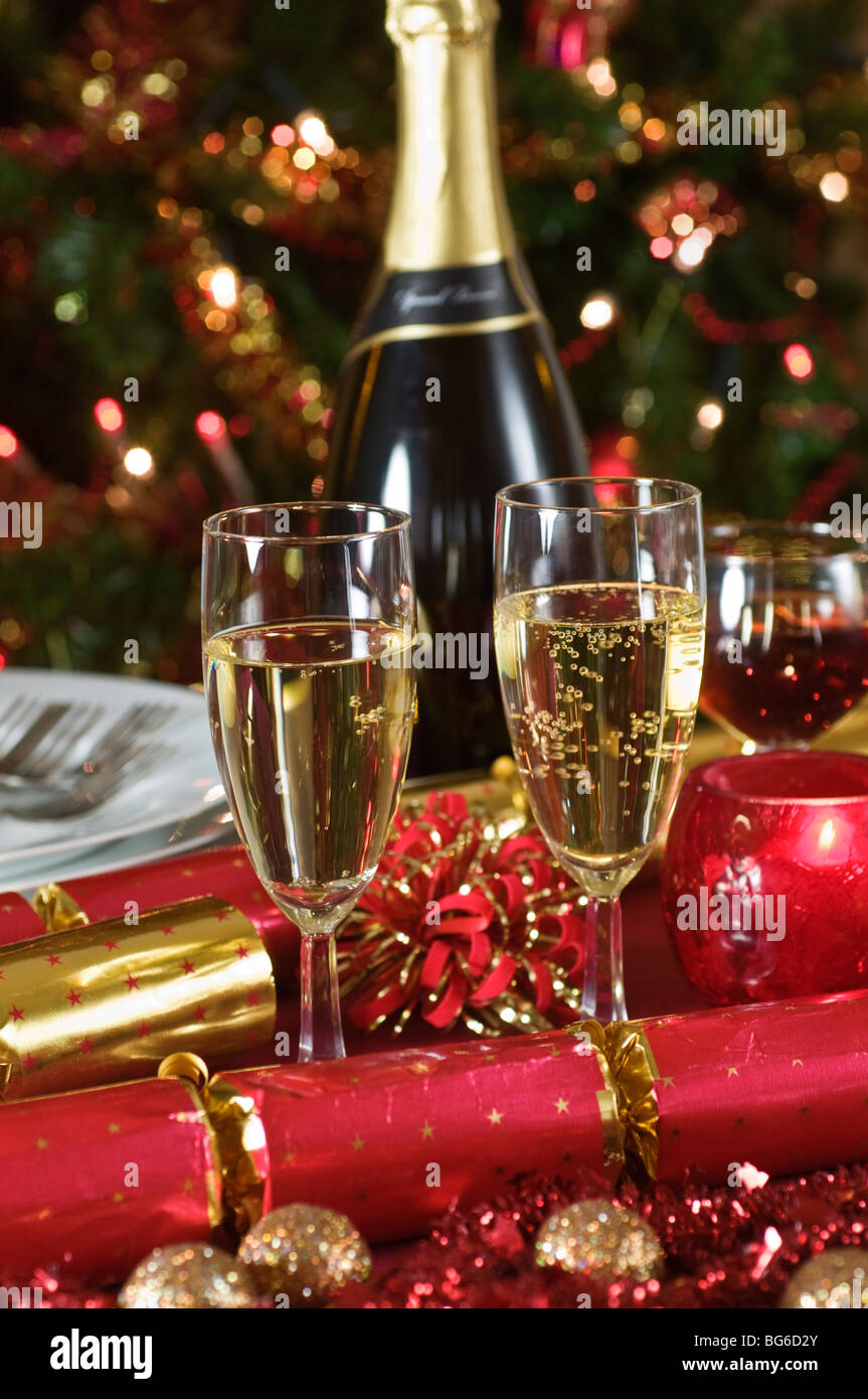 Christmas Champagne Wine Party Dinner Stock Photo