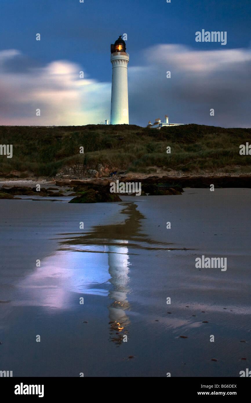 Covesea Lighthouse, Lossiemouth, Moray Shire, Moray Firth, Scotland, UK - Stock Image