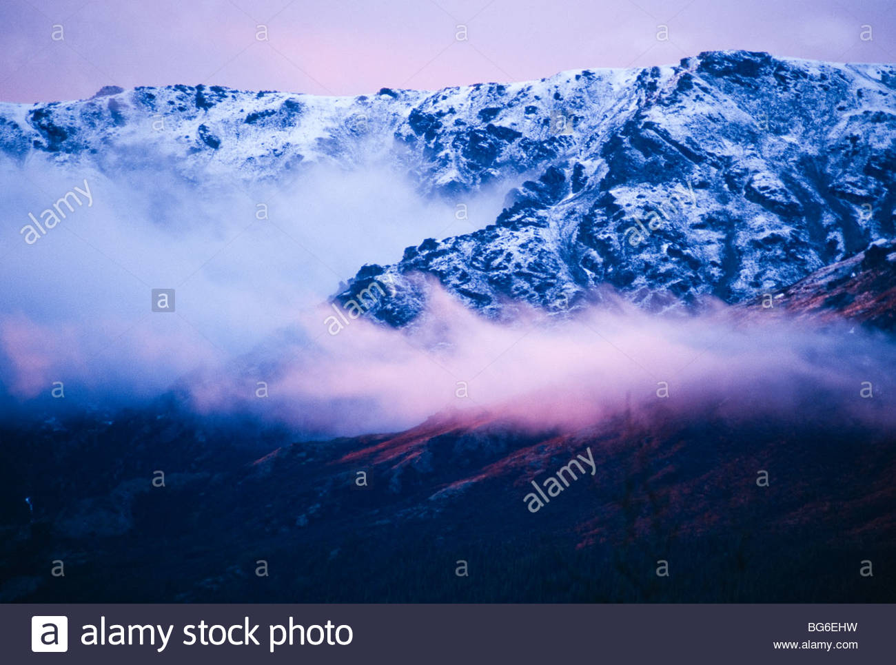 Alaska. Denali NP. Sunset on the foothills of the Alaska Range. - Stock Image