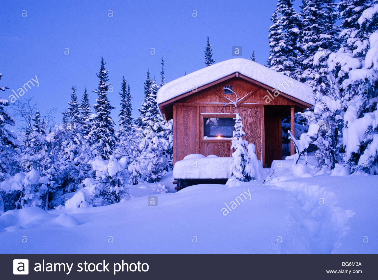 Alaska Alaska Range Cabin In Winter Evening Minus 20 Degrees