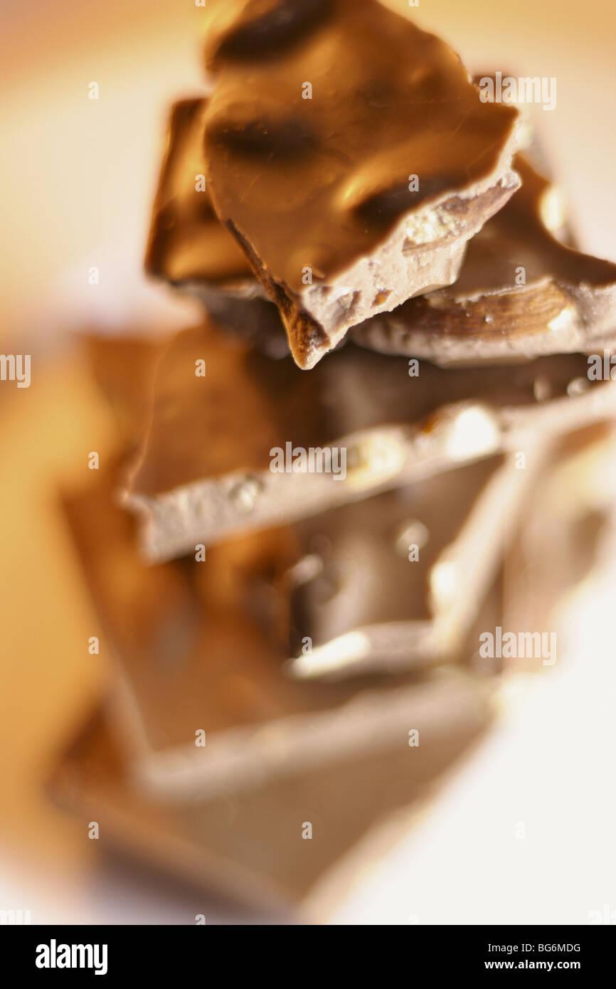 Chocolate Pieces - Stock Image
