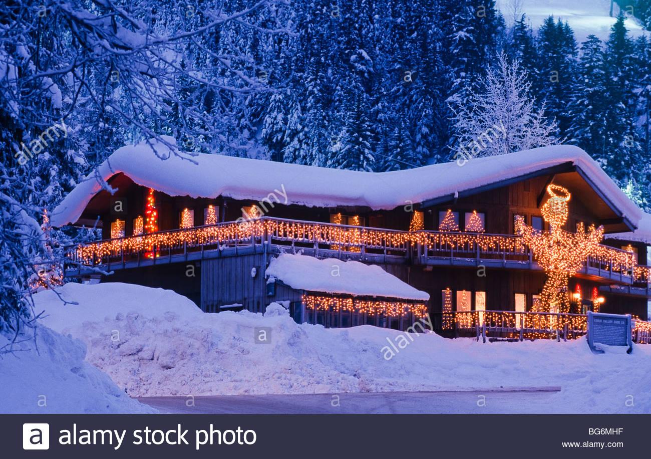 alyeska ski resort christmas lighting illuminates a gift shop at the - Christmas Mountain Resort