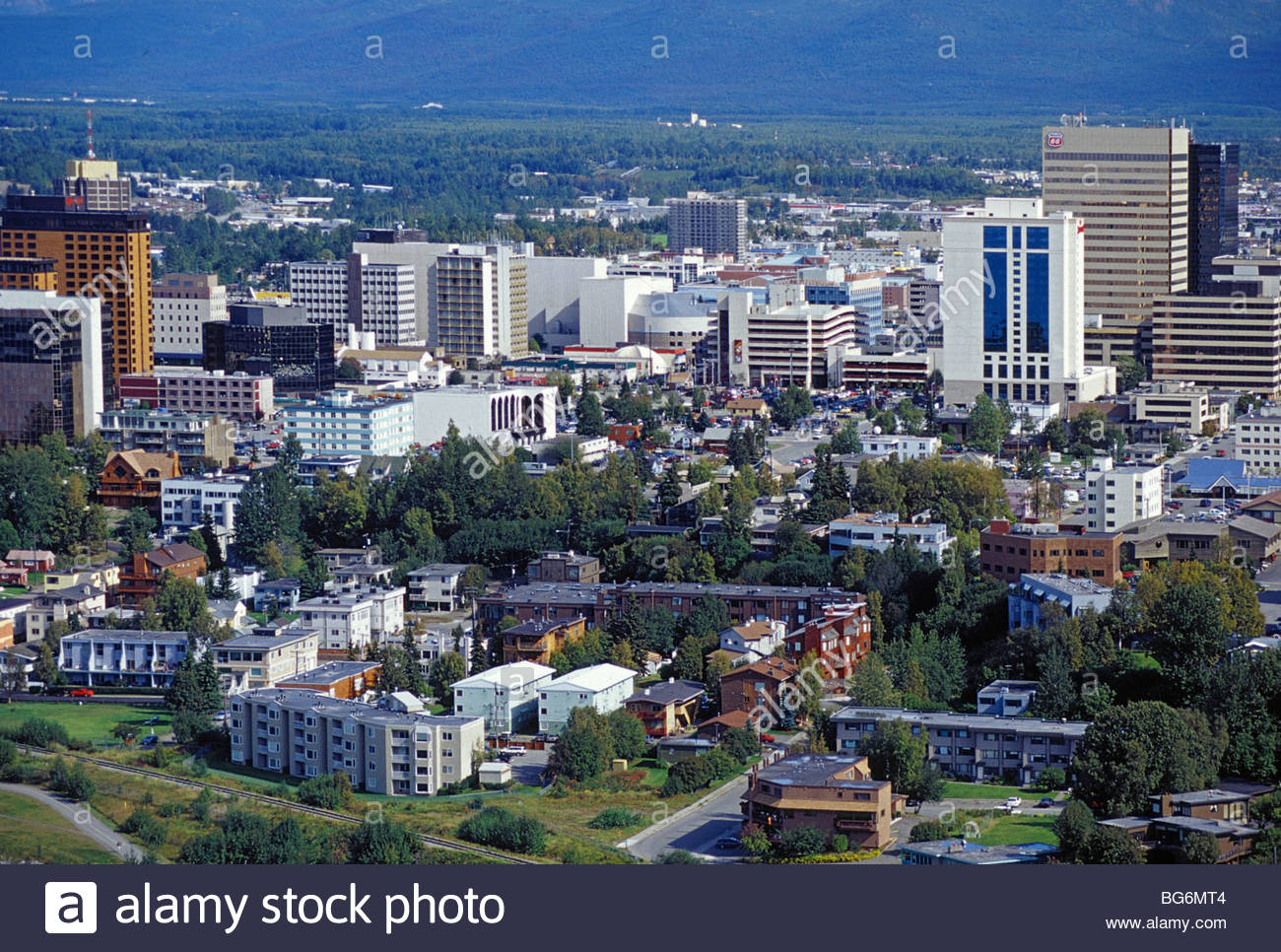 Alaska. Anchorage. Residential areas hug closely to the city's business district. Aerial. - Stock Image