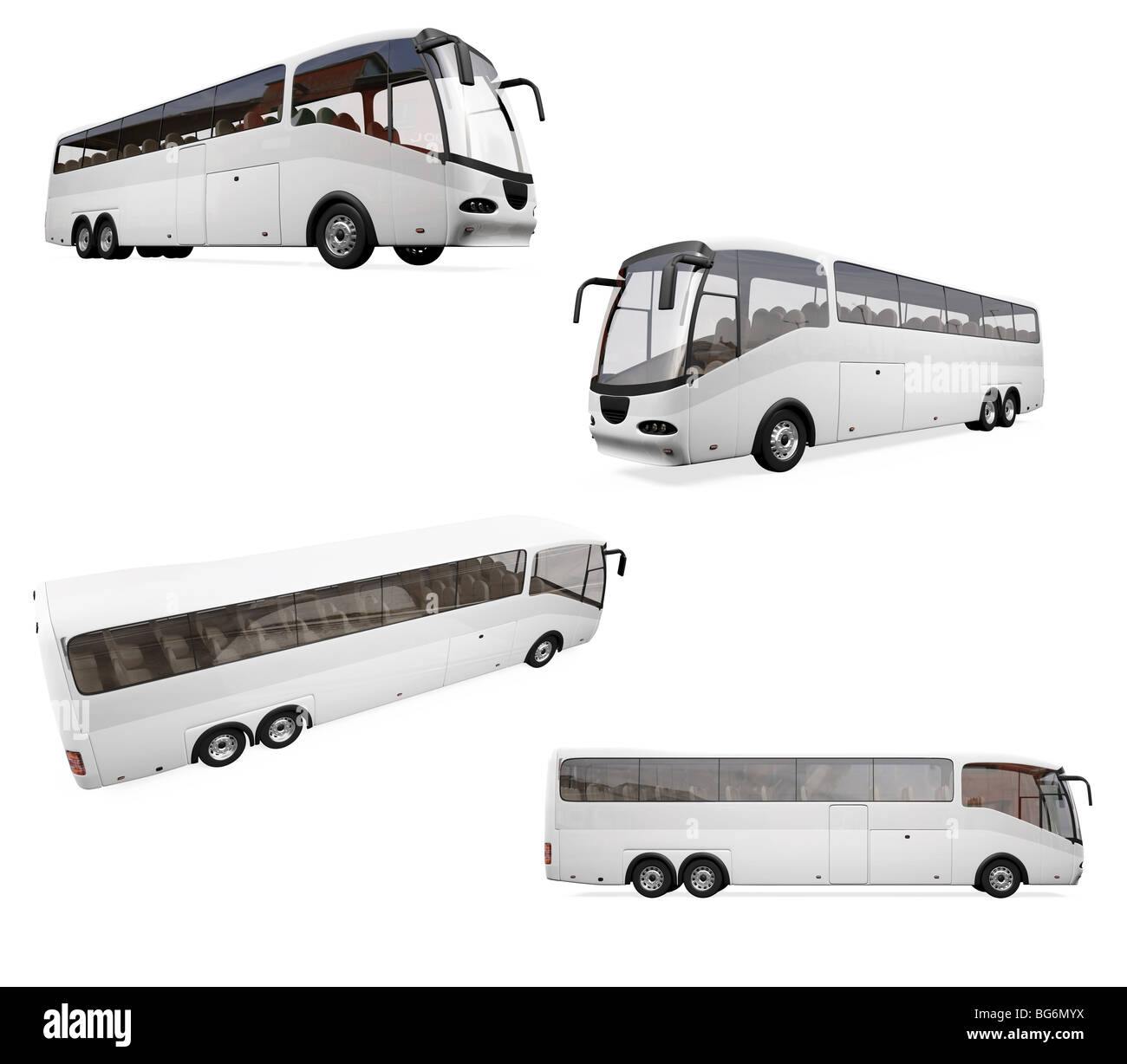 Isolated collection of bus - Stock Image