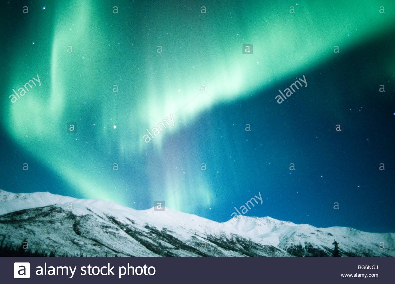 Alaska. Arctic . Brooks Range. Aurora Borealis. Northern Lights. - Stock Image