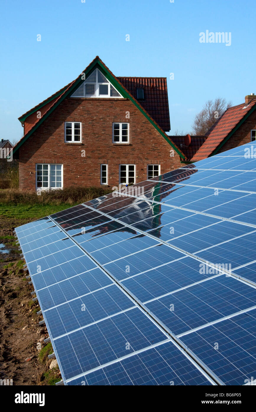 Photovoltaic solar panels for electricity production - Stock Image