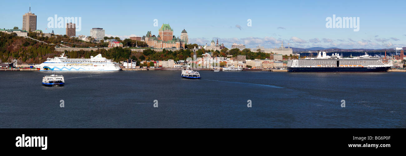 Cruise Ships and Chateau Frontenac in Quebec City, Canada - Stock Image