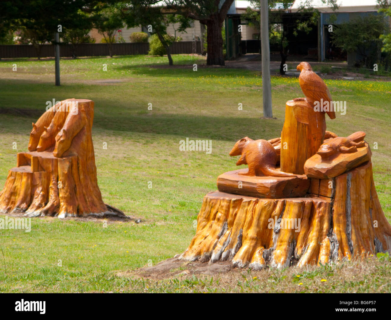 Fairytale Characters Chainsaw art at Darmoor Victoria, Australia - Stock Image