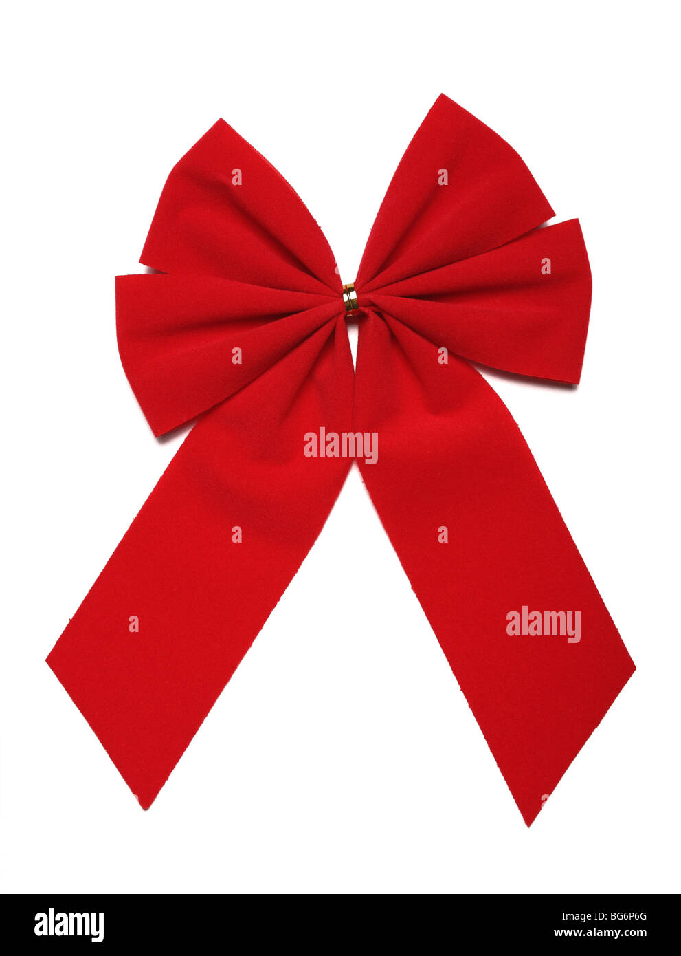 Red Christmas Bow Isolated On White Background With Clipping Path. The perfect object for your artwork. - Stock Image