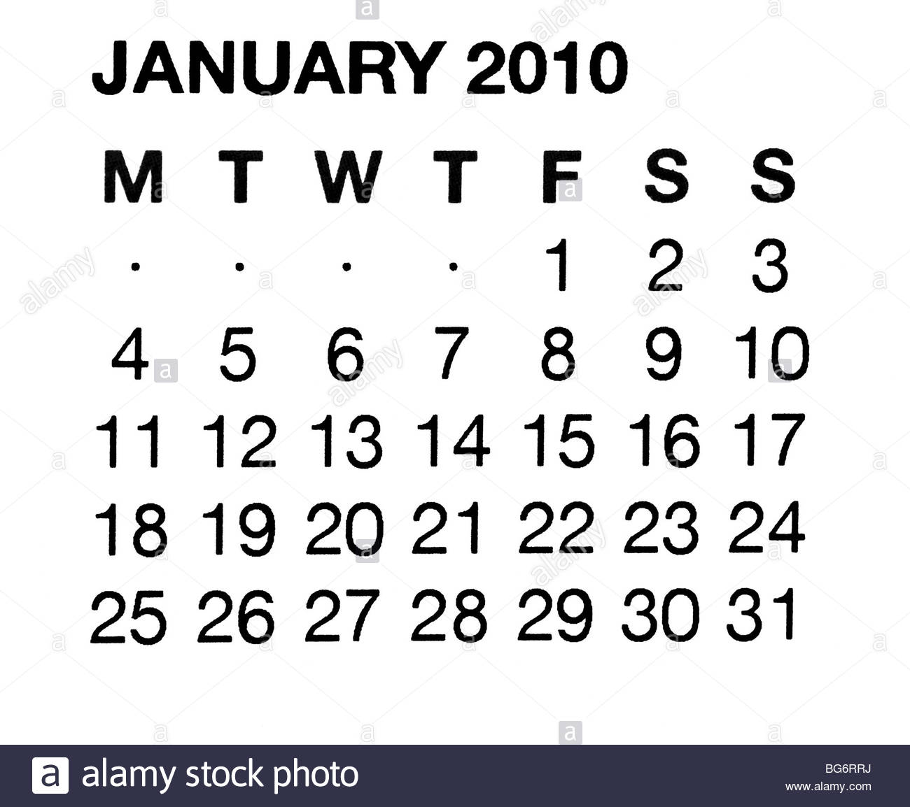 January 2010 calendar - Stock Image