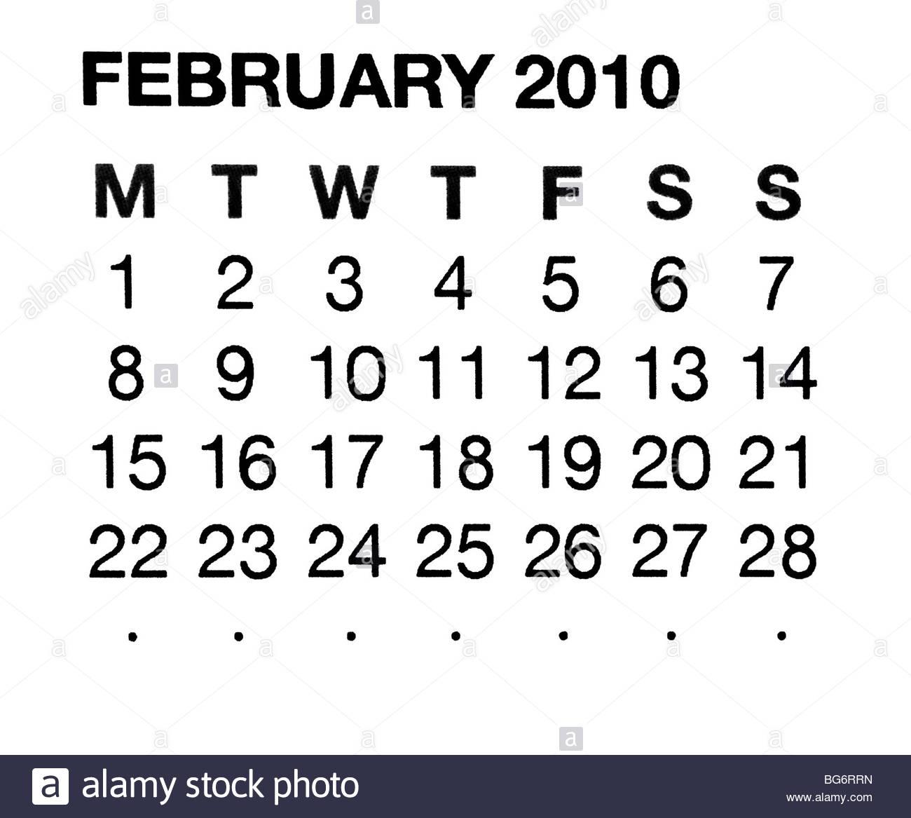 February 2010 calendar - Stock Image