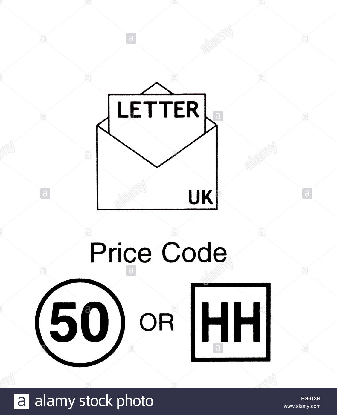 Uk Greetings card pricing codes - Stock Image