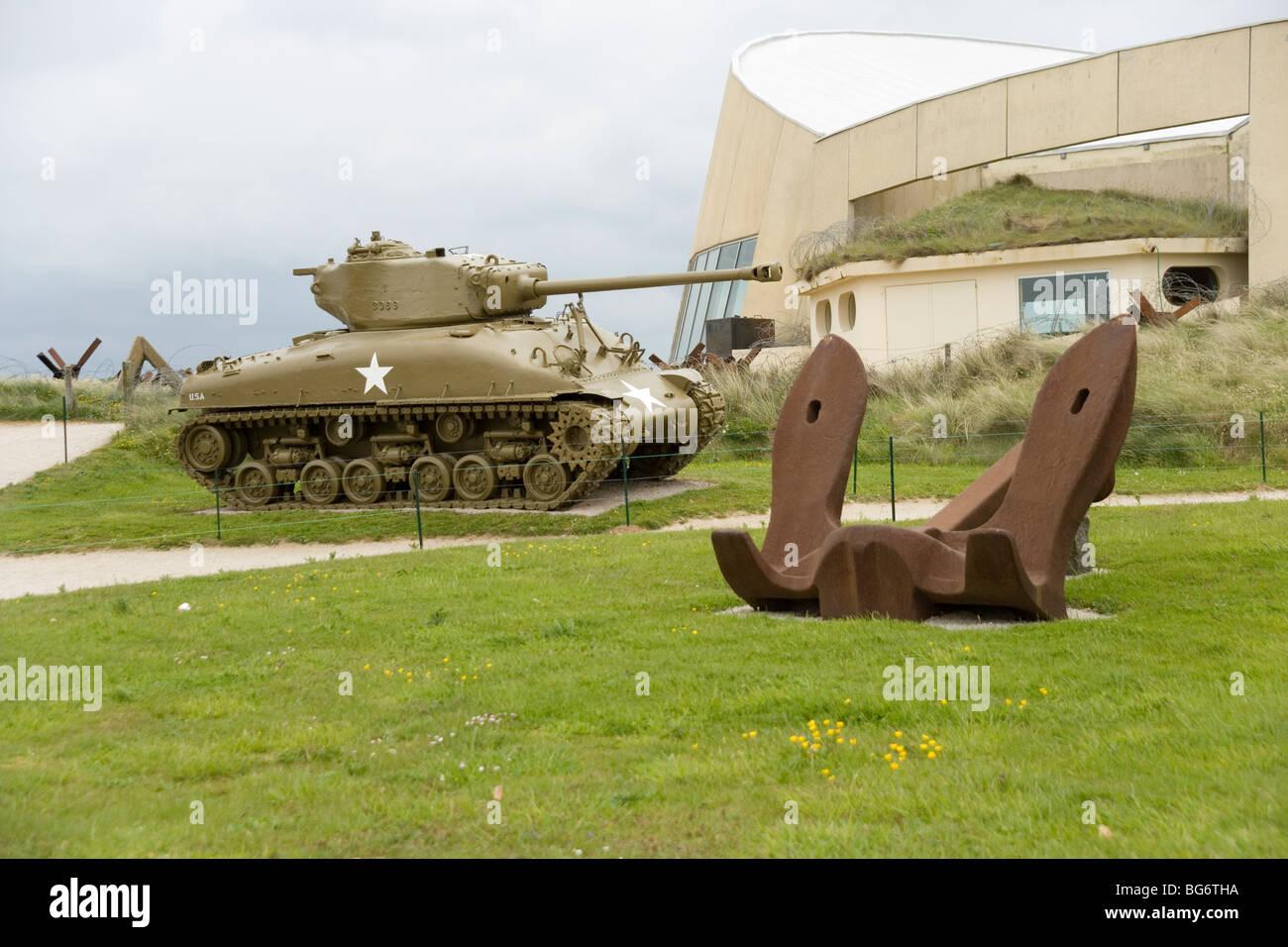 The Museum and Sherman tank at Utah Beach scene of landings