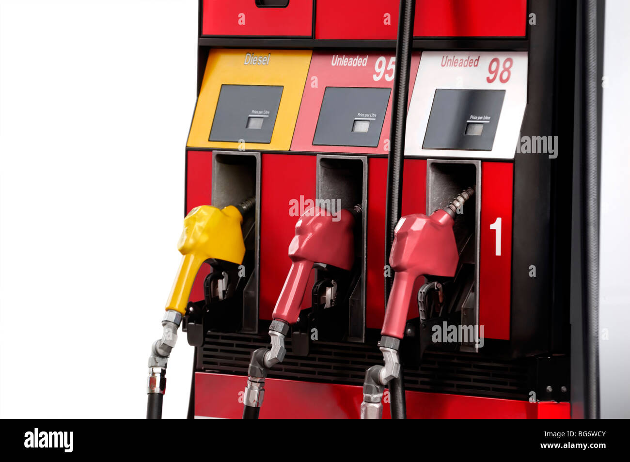 Gas pump with unleaded 95 and 98 petrol and diesel fuel isolated on white background Stock Photo