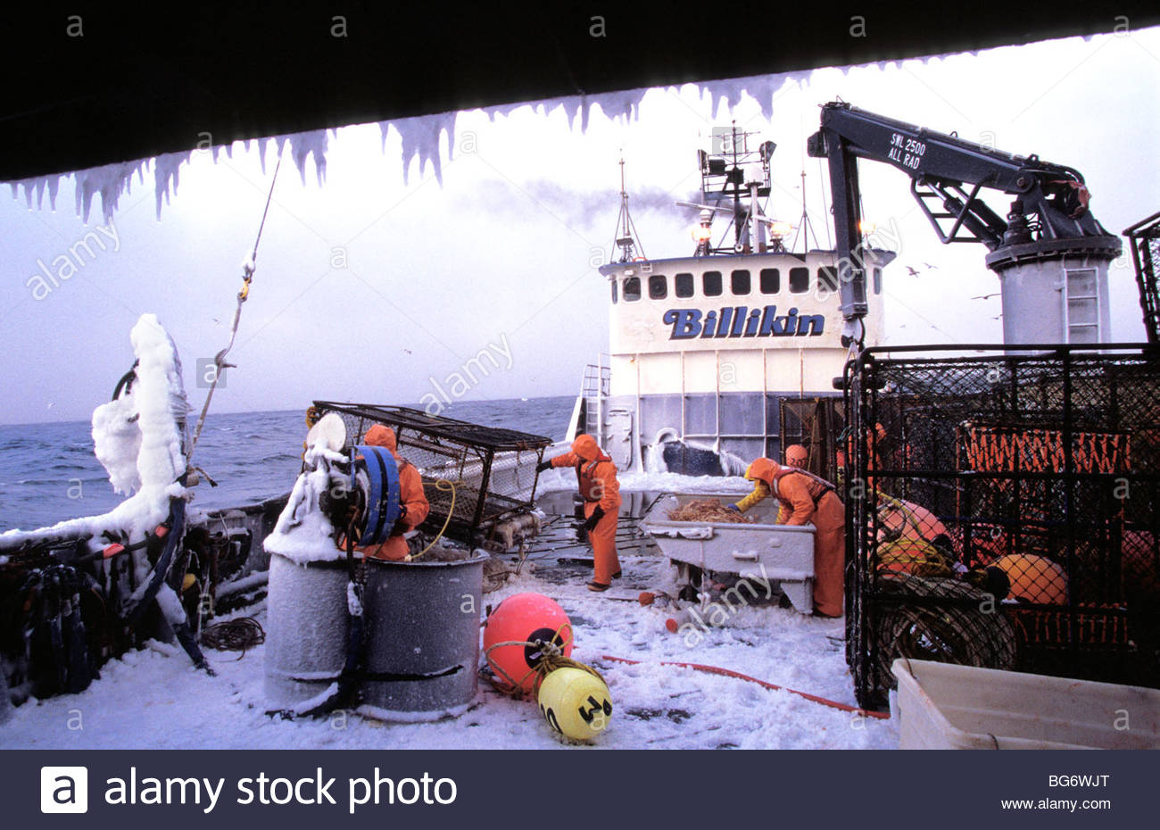 5eb89312ab6 Ice covers the deck on a crab fishing boat in the Bering Sea - Stock Image