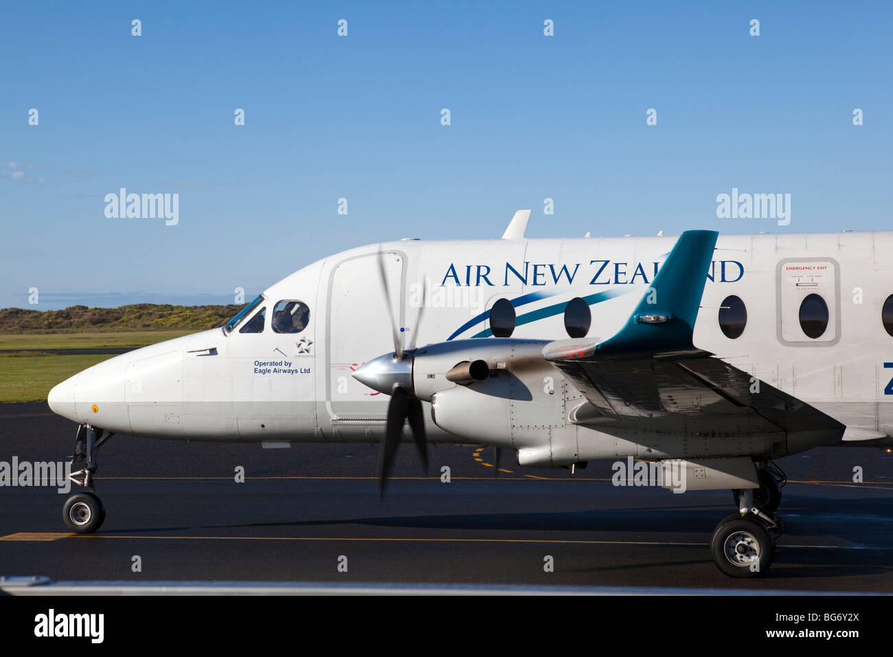 A Beech King 1900D operated by Air New Zealand in 2009, at the Wanganui airport. - Stock Image