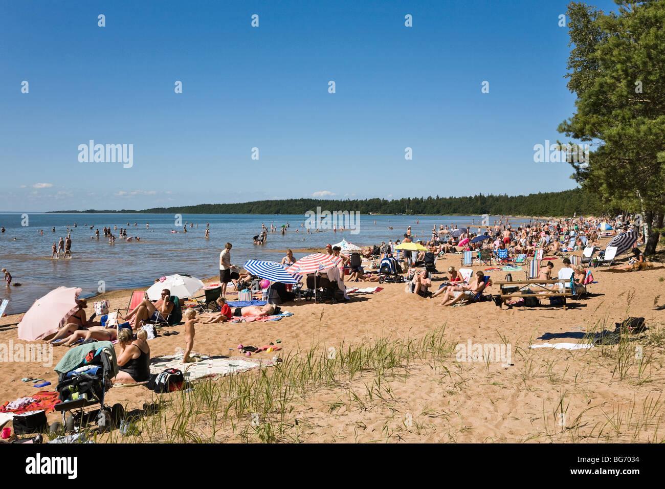 People sunbathing on the beach - Stock Image