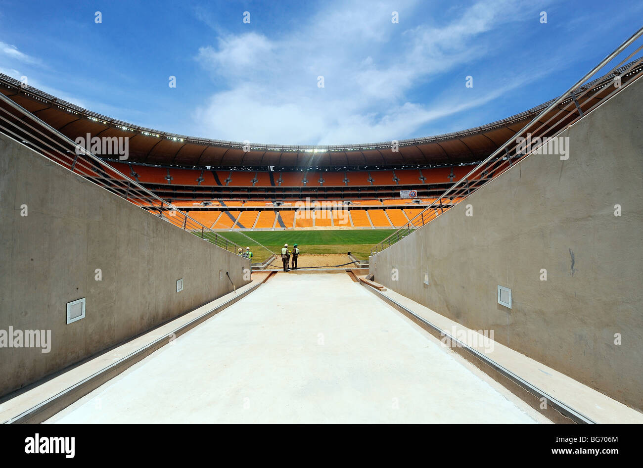The view from the players tunnel at Soccer City Stadium in Johannesburg, South Africa - Stock Image