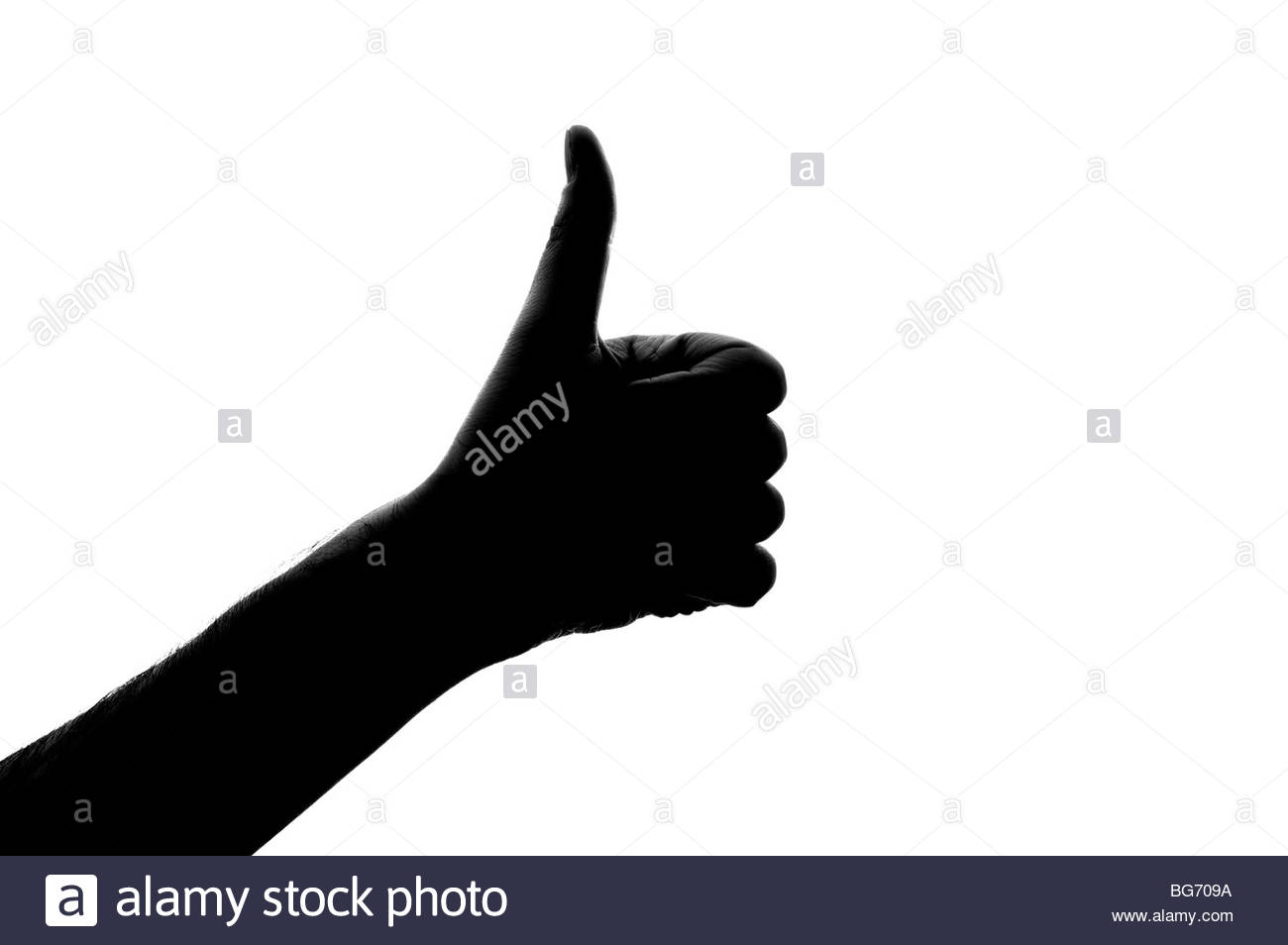 Thumbs up hand signal - Stock Image