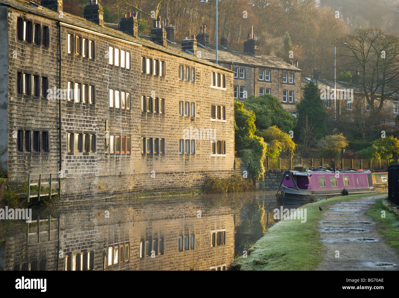 The Rochdale Canal, Hebden Bridge, Calderdale, West Yorkshire, England UK - Stock Image