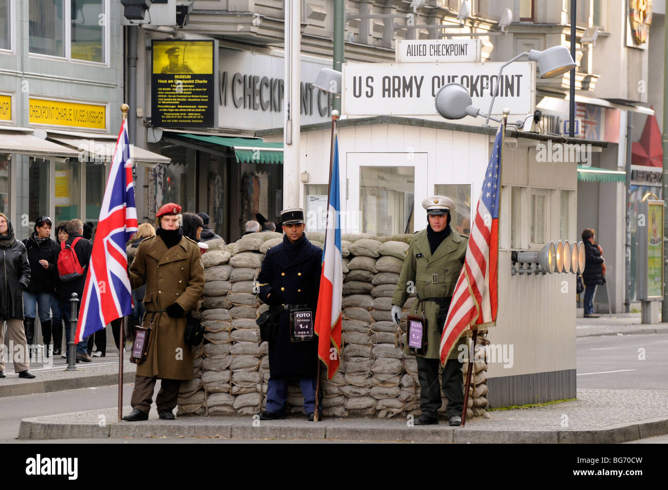 US Army checkpoint tourist stand, Checkpoint Charlie, Berlin. - Stock Image